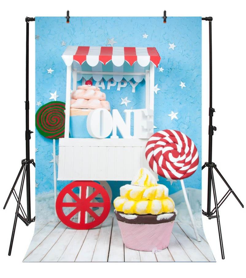 Laeacco prima zi de naștere din lemn tort de bomboane bomboane de - Camera și fotografia - Fotografie 6