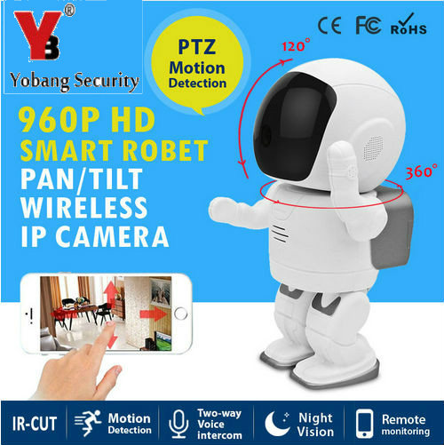 YobangSecurity Mini Robot IP Camera Wireless Wifi PanTilt Two Way Audio Recording Onvif Indoor Surveillance WIFI Security Camera two collaborative robot manipulators handling a flexible object