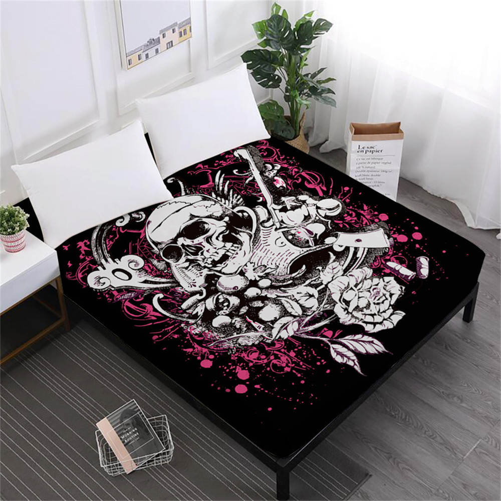 Ladies Sweet Skull Bed Sheets Pistol Fire Skulls Print Fitted Sheet Sugar Skull Sheets 100% Polyester Soft Mattress Cover D15 image
