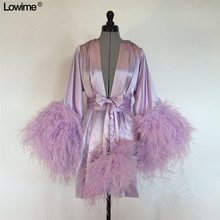 Plus Size Cheap Purple Muslim Short Prom Dresses Long Sleeve Satin Feathers Evening Party Gowns Fashion Runaway Show Dress