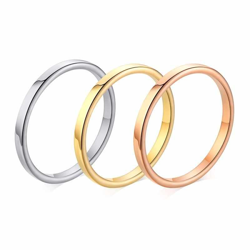 Simple Wedding Band Rings for Women 2MM Thin Stainless Steel Anel Alliance anillo femenino Anniversary Gifts for Her