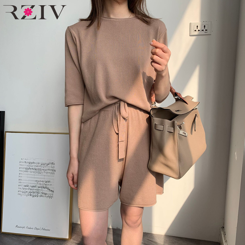RZIV Summer Leisure Suit Women Solid Color T-shirt + Pants Knitted Suits