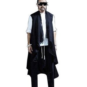 Новый летний мужской жилет, пальто, уличная мода, Панк Хип-хоп, мужской длинный жилет, куртка без рукавов, шаль, жилет, кардиган MJ43