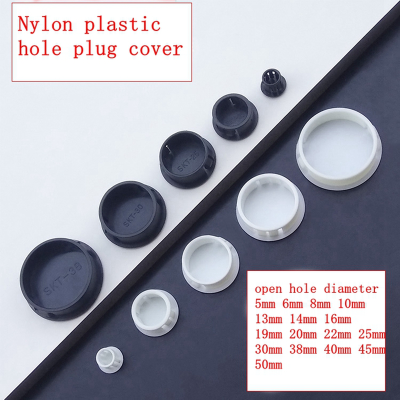 10pcs Nylon Plastic Hole Plug Cover Pipe Hole Plug Cover Hole Plug Pipe Cover Screw Cap Black  White Color