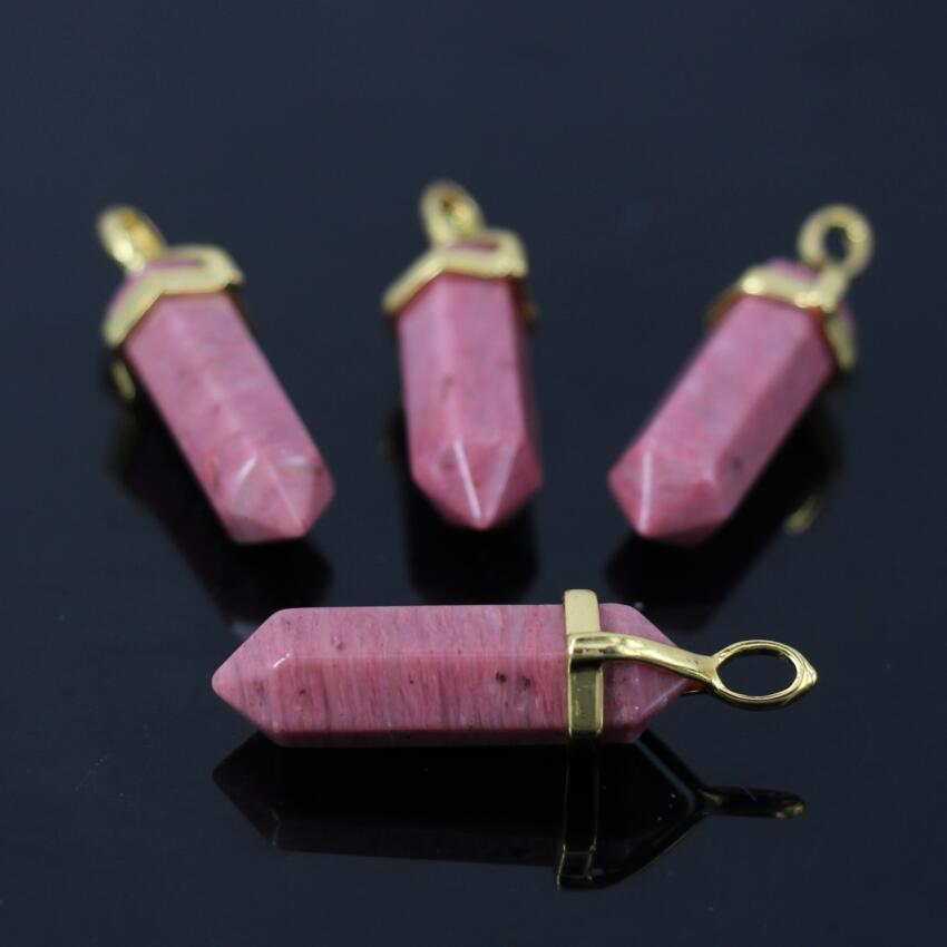 High Quality Top Drilled Natural Rose Quartz Faceted Point Crafts Supplier,Pink Crystal Hexagon Stick Pendant Necklace Jewelry