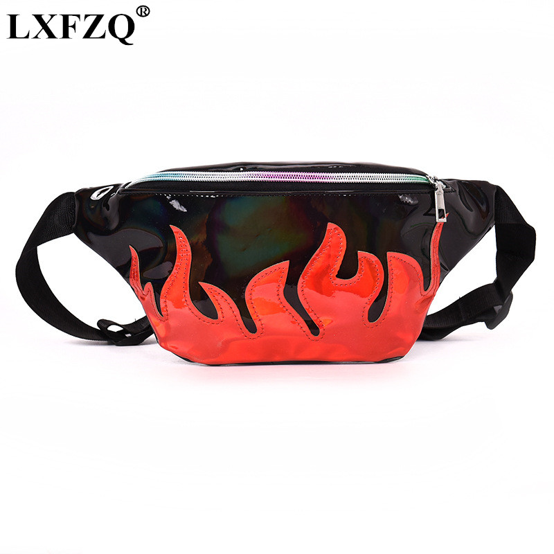 LXFZQ NEW fanny pack PU waist bag laser purse heuptas leg bag Reflective fanny pack for women holographic bum bag sac banane