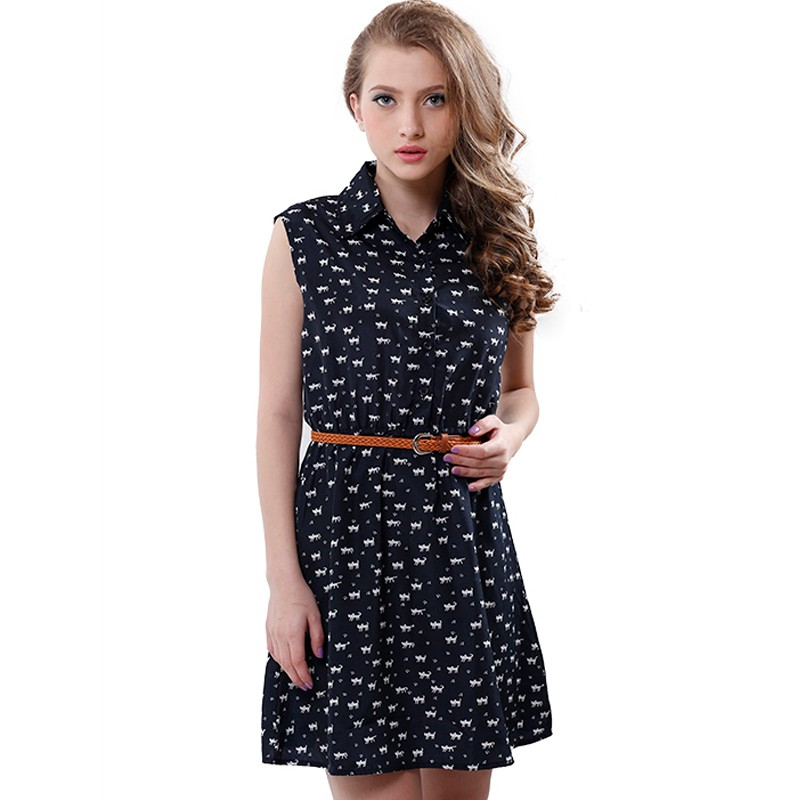 Softu Hot Sale Women's Fashion Summer Casual Shirts Dress Sleeveless Tank Knee Length A Line Dress Cat Printed Dresses With Belt 8