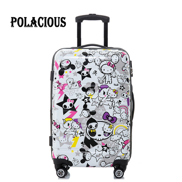 Hot hello kitty Children suitcase ABS+PC trolley luggage suitcase Pull Rod trunk case cute fashion Girl Women's Comic suitcases