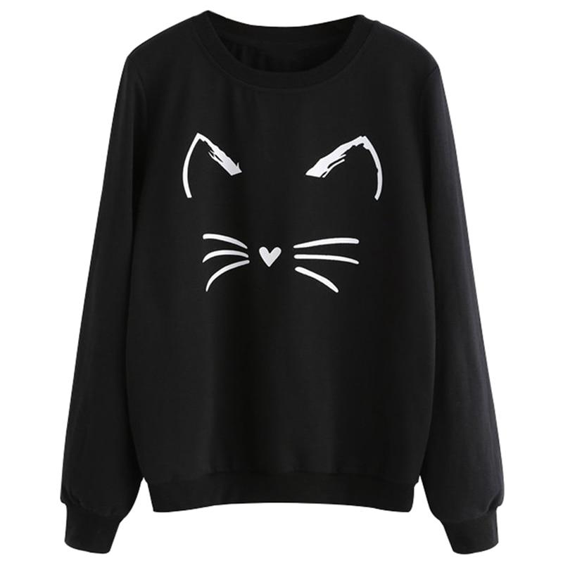 Women Cartoon Cat Print Sweatshirt Long Sleeve Casual Women Pullovers Black Round Neck Cute Sweatshirt