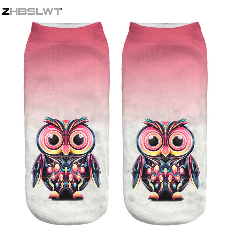 ZHBSLWT New 3D Print Arrival Fashion Owl Socks Women Cute Owl Print Socks Casual Women Girls Socks Hot Sale Drop Shipping-14