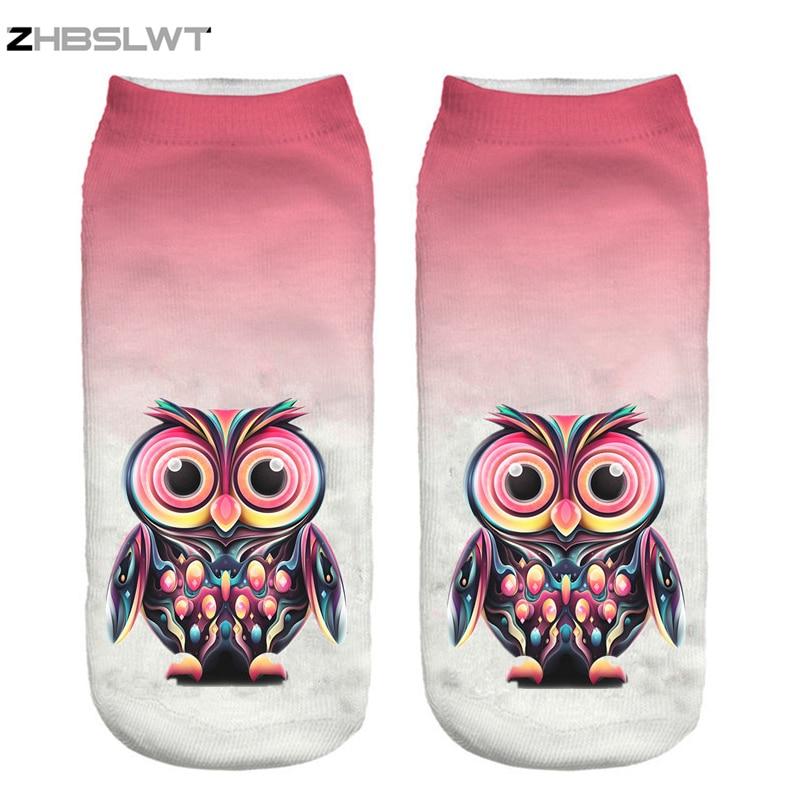 ZHBSLWT New 3D Print Arrival Fashion Owl Socks Women Cute Owl Print Socks Casual Women Girls Socks Hot Sale Drop Shipping-14