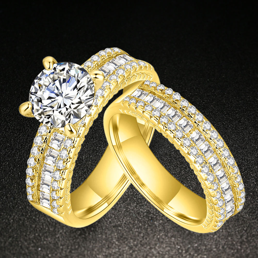 aliexpress : buy promise engagement double rings for couples