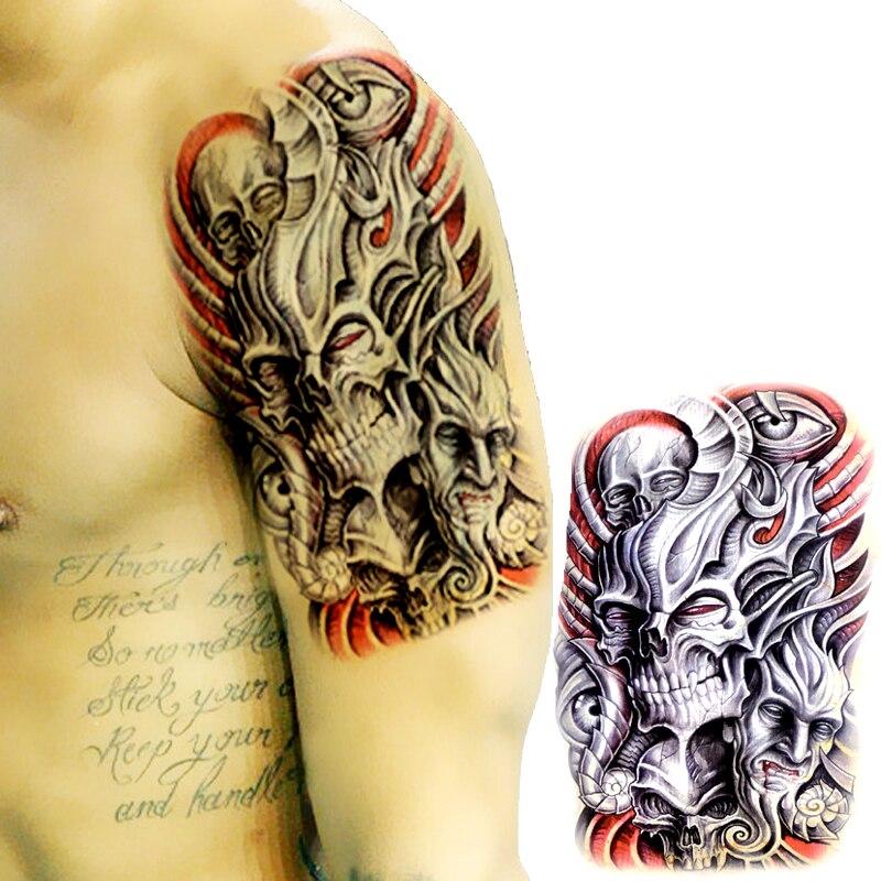 Skull Henna Tattoo: Temporary Tattoos Large Evil Skull Arm Fake Transfer