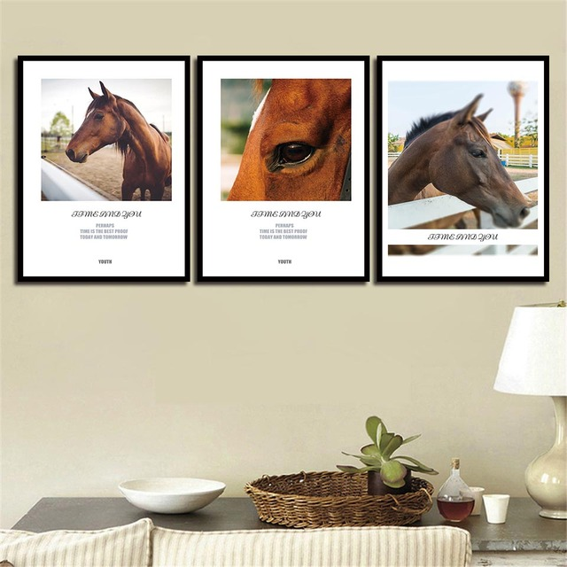 Us 1 91 40 Off Nordic Hd Paintings Wall Art Print Animals Horse Modern Quotes Canvas Posters Pictures For Office Living Room Home Decor In Painting