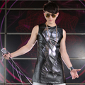 New arrived 2015 slim casual fashion fit for male mosaic paillette leather vest men's dj singer for stage wear sequins costume