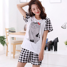 Women Summer Sleepwear Breathable Cotton Blend Pijama Cartoon Totoro Female  Casual T-shirt   Shorts 22a733d66