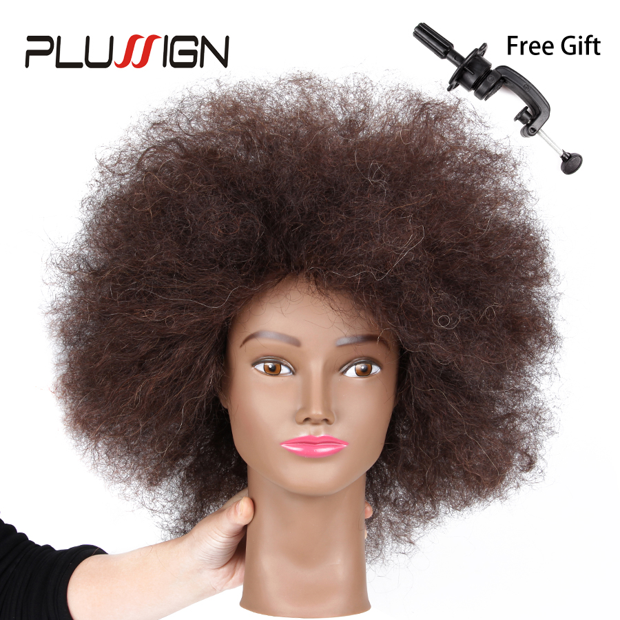Plussign Traininghead Salon Afro Mannequin Head Human Hair Dummy Doll Hairdressing Training Heads Real Hair Manikin Head Black