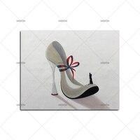 高品質ハンド塗装靴画像現代抽象油絵キャンバス壁アート用ホーム装飾なしフレームとして最高の贈り