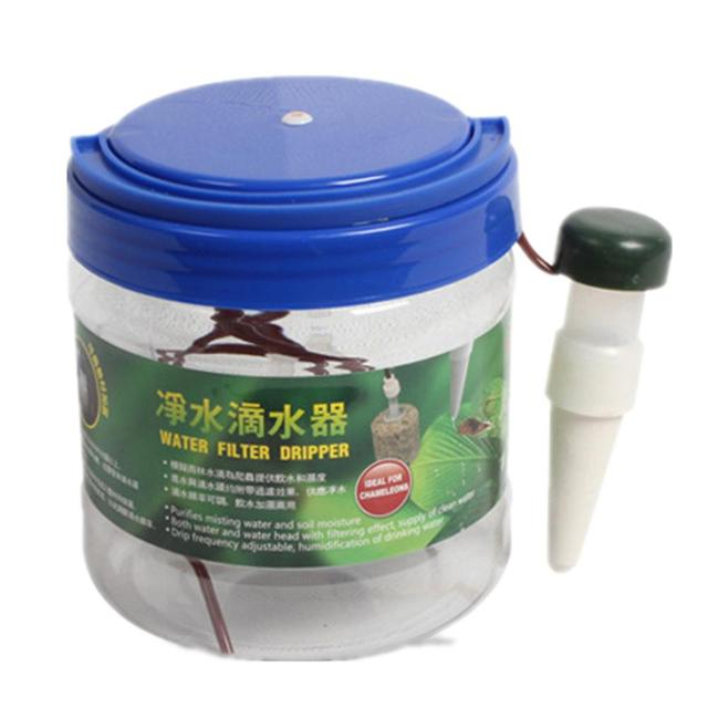 LanLan 1300ML Reptile Water Filter Drip System Drinking Fountain Water Dispenser Humidifier for Chameleon Lizard Gecko