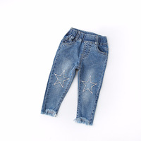 Cute Cartoon Embroidery Stars Pattern Kids Jeans Spring Autumn Lovely High Quality Children Pants Casual Trouses