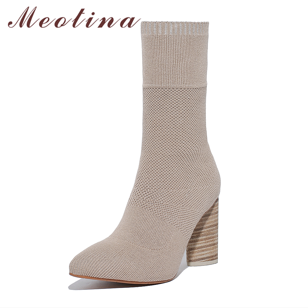 Meotina Brand Design Women Boots Stretch High Heel Boots Genuine Leather Shoes Women Slim Sock Mid-Calf Boots 2018 Black Apricot fonirra women mid calf stretch fabric sock boots pointed toe sexy brand design high heel women winter boots ladies shoes 670