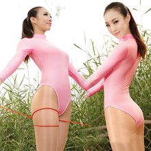 Sexy Turtleneck Shaping High Cut Open Crotch Thong Bodysuit Long Sleeve One Piece Swimwear Erotic Lingerie Sexy Jumpsuit FX18