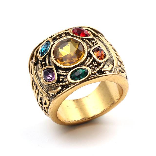 Hot Movie The Avenger 3 Infinity War Ring Gold Thanos Infinite Power  Gauntlet Colorful Crystal Cosplay Jewelry Gifts for Fans 841ea1b6ed80