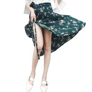 Image 2 - 2019 Summer Floral Print Summer Skirts Bohemian High Waist  Womens Boho Asymmetrical Chiffon Skirt Maxi Long Skirts For Women