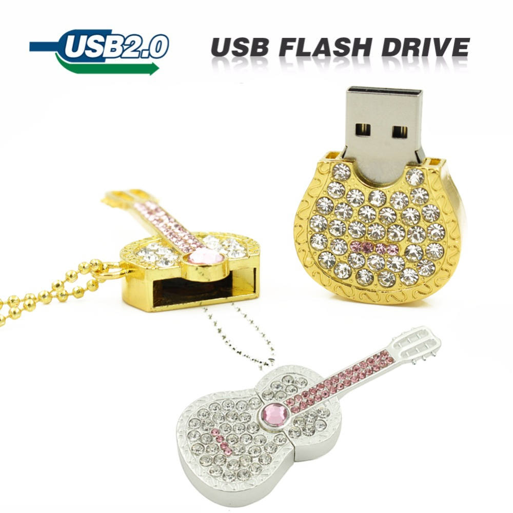 Usb Flash Drive Color Diamond Metal 100% Full Pen Drive 8GB 16GB 32GB 64GB U Disk Crystal Guitar Drive Pendrive Memory Stick