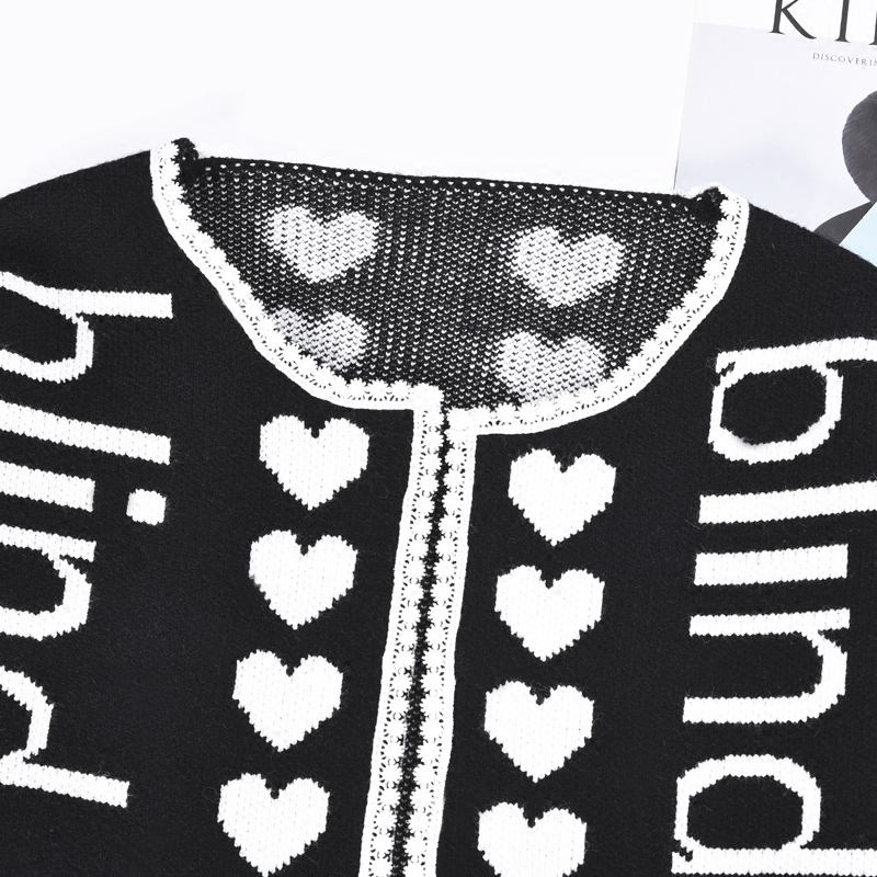 2017 De Coeur Mode Femmes Top Chandail À Date Laine Lettre Tricoter Noir Cardigan Efatzp Hiver Designer Longues Manches Lâche Piste 5tqSWO