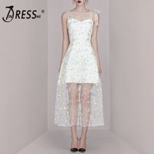 INDRESSME 2019 New Sexy Lovely Lace Embroidery Floral Sweet Ladies Midi Dress Mesh Party Outfit