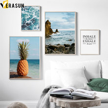Blue Sea Coast Pineapple Quotes Landscape Wall Art Canvas Painting Nordic Posters And Prints Pictures For Living Room Decor