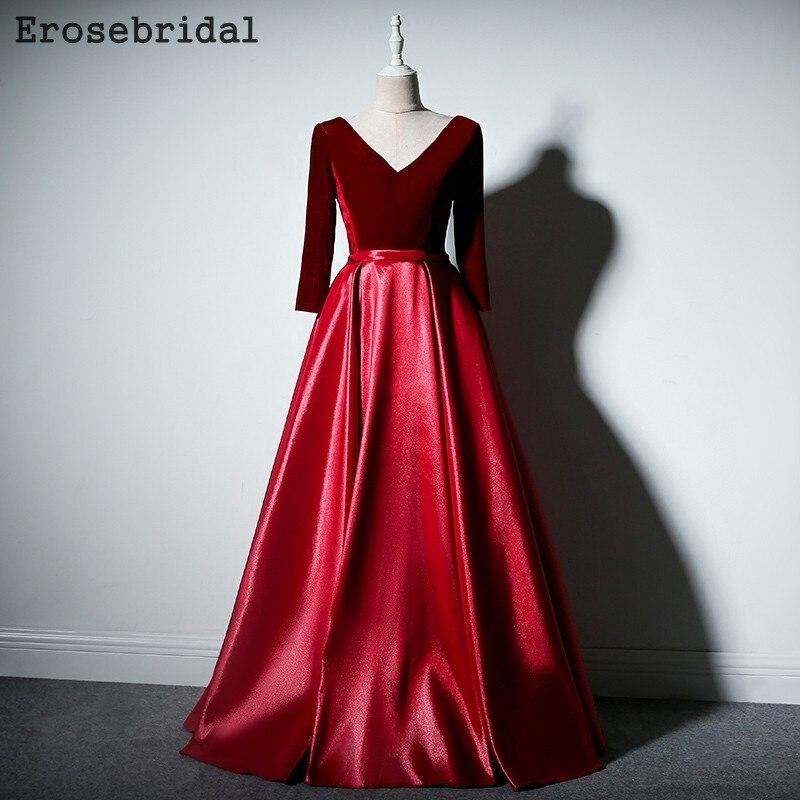 [2018 осенью новый] вечернее платье с длинным рукавом Линия вечерние платья для Для женщин Элегантный V шеи красный королевский синий черный в