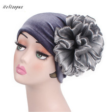 Helisopus New Ladies Velvet Turban Flower Cap Fashion Hair Accessories Muslim Hat Headbands Women Chemo Hat Turbans