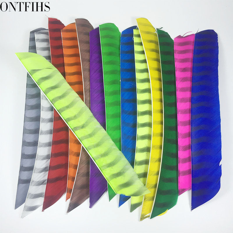 ONTFIHS Archery Fletching Arrow Feathers Multicolor Double Sided Striped Full length Turkey Feather Fletches DIY 50PCS