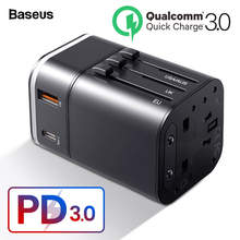 Baseus Quick Charge 3.0 International Travel USB Charger Power Adapter PD QC3.0 Fast Charging Wall Plug Socket For UK/EU/AU/US [genuine] 61w usb phone charger us uk eu replaceable plug type c pd fast charging power adapter for macbook laptop smartphones