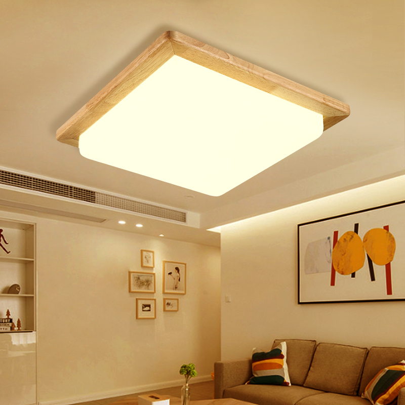 Solid Wooden Ceiling Lamp Square Wood Logs Nordic Japanese Lighting Hall Balcony Porch Lamp NEW Bedroom Lamp MZ131