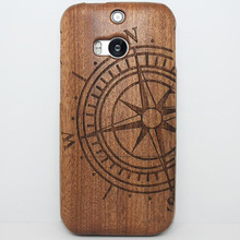 ФОТО retro real pure wood case laser carving bambu fundas bamboo madeira cover hard back coque wooden carcasa capa for htc one m8