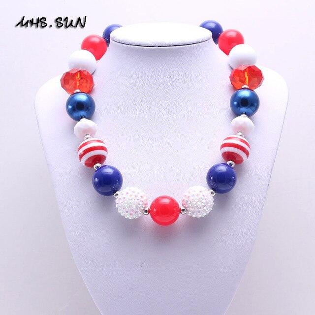c7123b21c47f 2 unids lote rojo y azul estilo princesa hecha a mano chunky collar  Bubblegum Collar