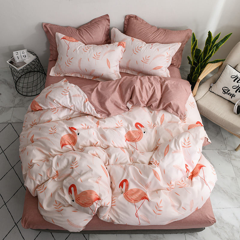Flamingo 4pcs Girl Boy Kid Bed Cover Set Duvet Cover Adult Child Bed Sheets And Pillowcases Comforter Bedding Set 2TJ-61007