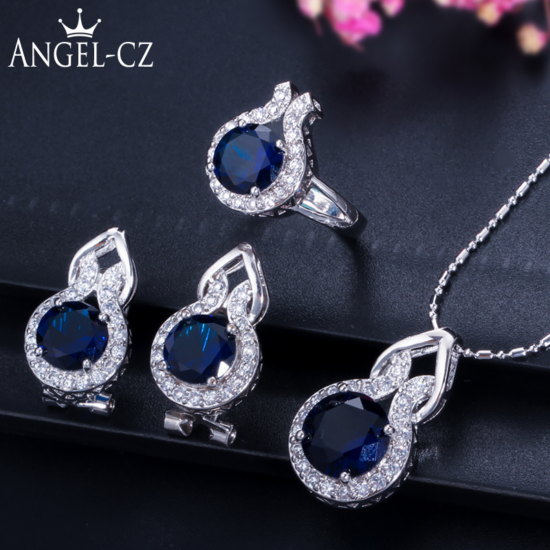 ANGELCZ Elegant Blue Zircon Jewelry Micro Pave Round CZ Stones Silver 925 Ring Earrings And Necklace Set For Women Gift AJ013 2018 new clip no pierced jewelry young girl women delicate micro pave black cz stack 925 silver fashion elegant ear cuff earring
