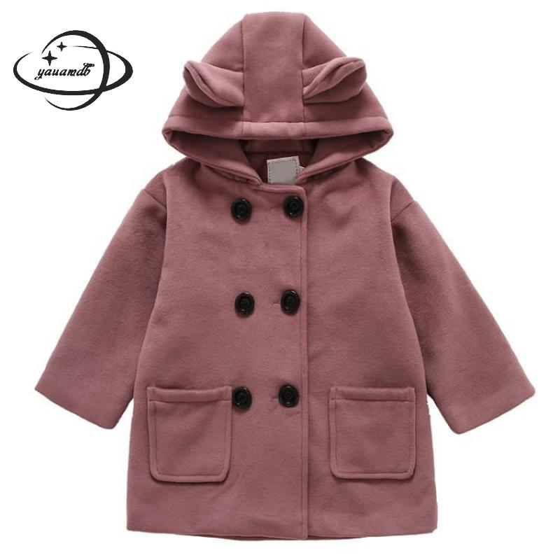 Rapture Kids Wool Coats Autumn Spring 4-11y Double Breasted Girls Blends Jackets Hooded Clothing Rabbit Ears Children Outerwear Ly53