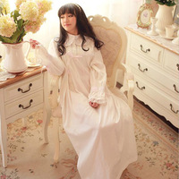 High Quality Nightgowns For Women Long Dresses For Sleep Lady Sleepwear Ladies Vintage Nightgowns Long Sleeve Lace Lounge White