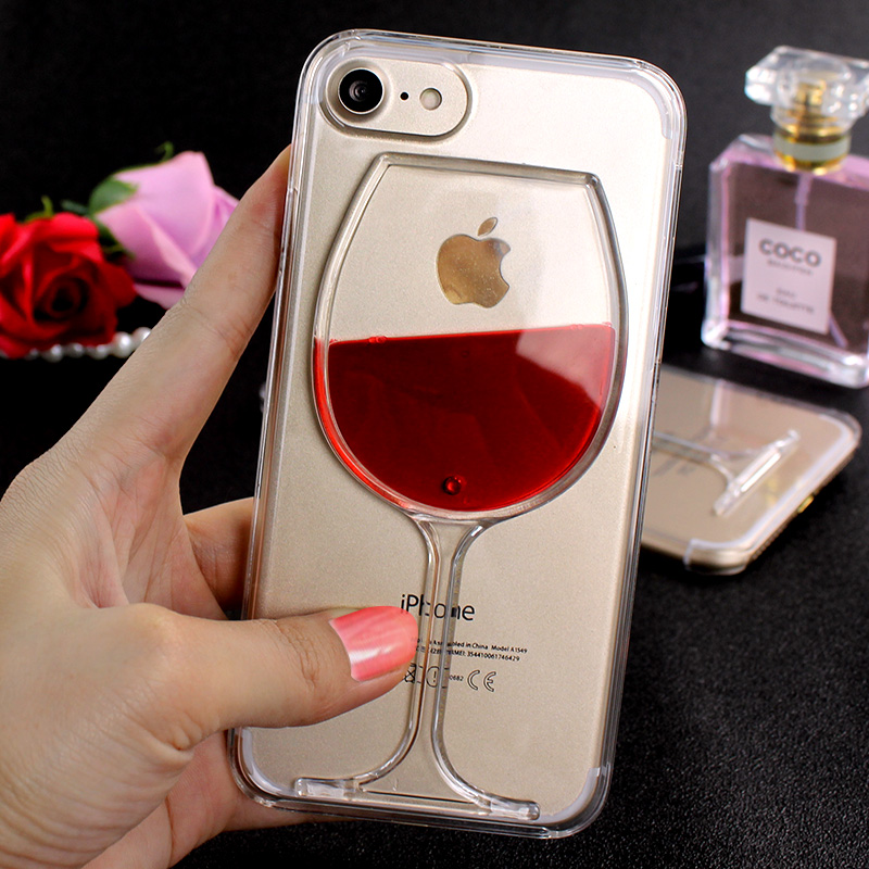 Red Wine Cup Liquid Transparent Hard Case For Iphone 8 6 6s 7 Plus 5S SE Phone Cases Back Cover