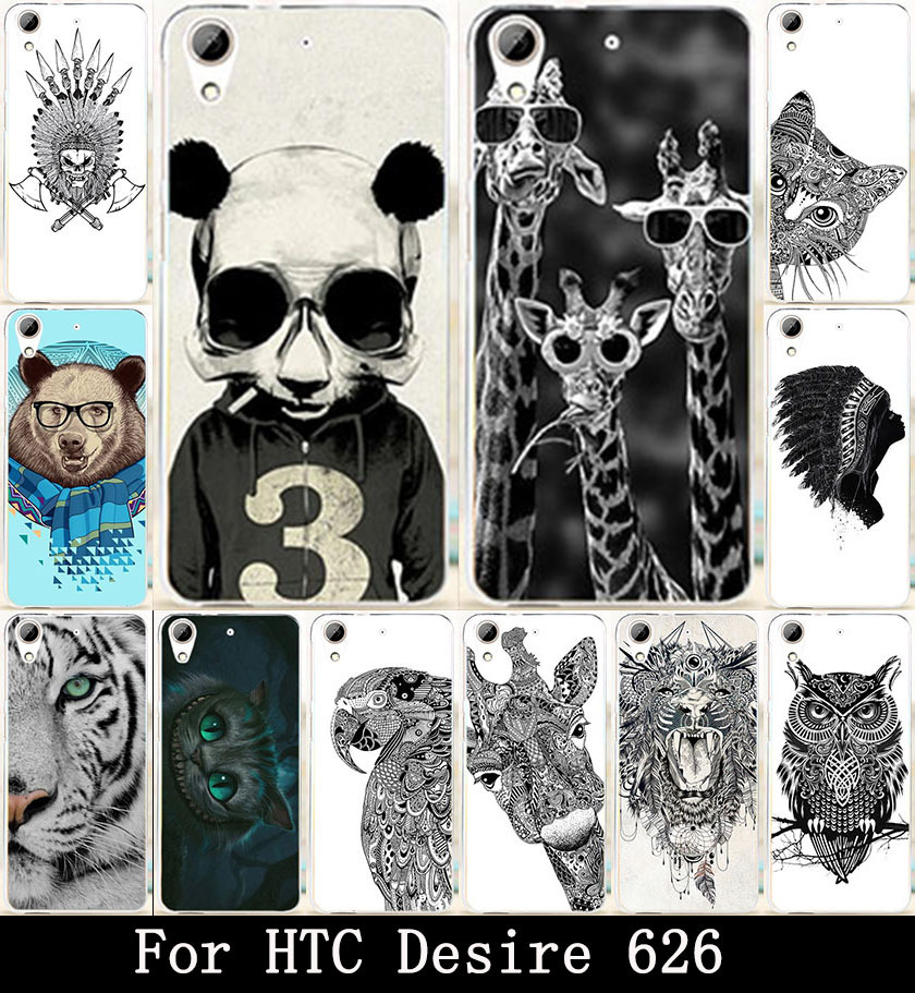 AKABEILA Animal Owl Giraffe Cat Painted Hard PC Covers Cases For HTC Desire 626 650 628 626w 626D 626G 626S Covers Skin Shell