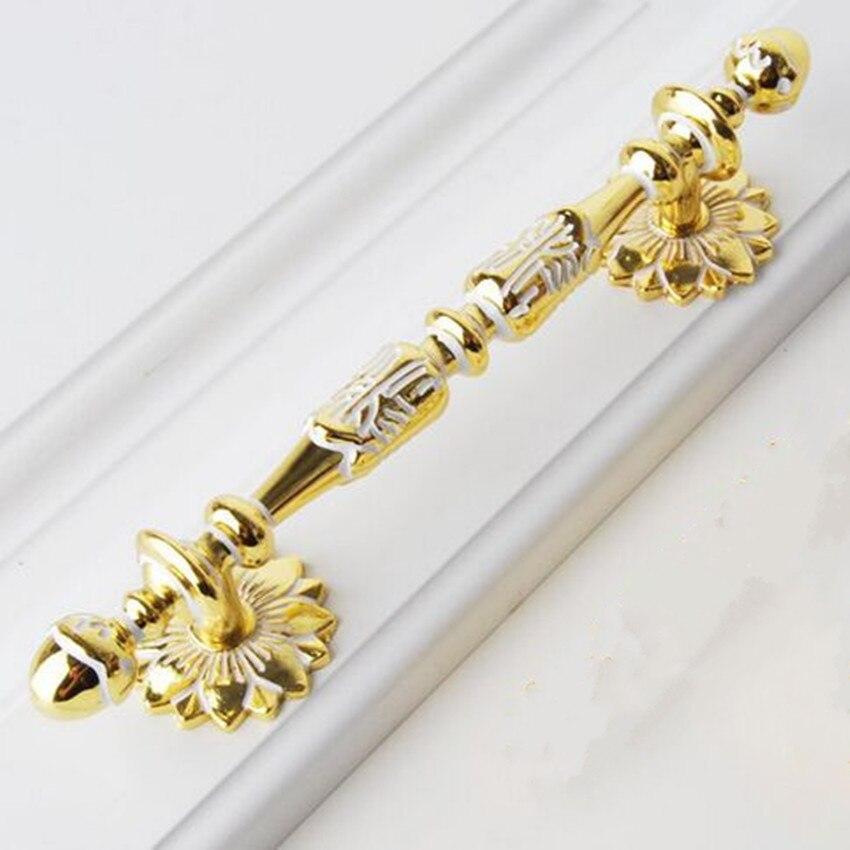 128mm Luxury Kitchen Cabinet Wardrobe Door Pulls White Gold Wooden