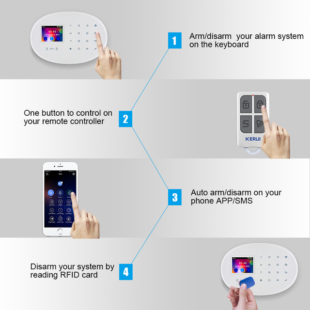 KERUI W20 Smart Home Alarm WIFI GSM RFID Card Security Alarm System With 2.4 inch TFT Touch Panel Motion Detector Alarm 4