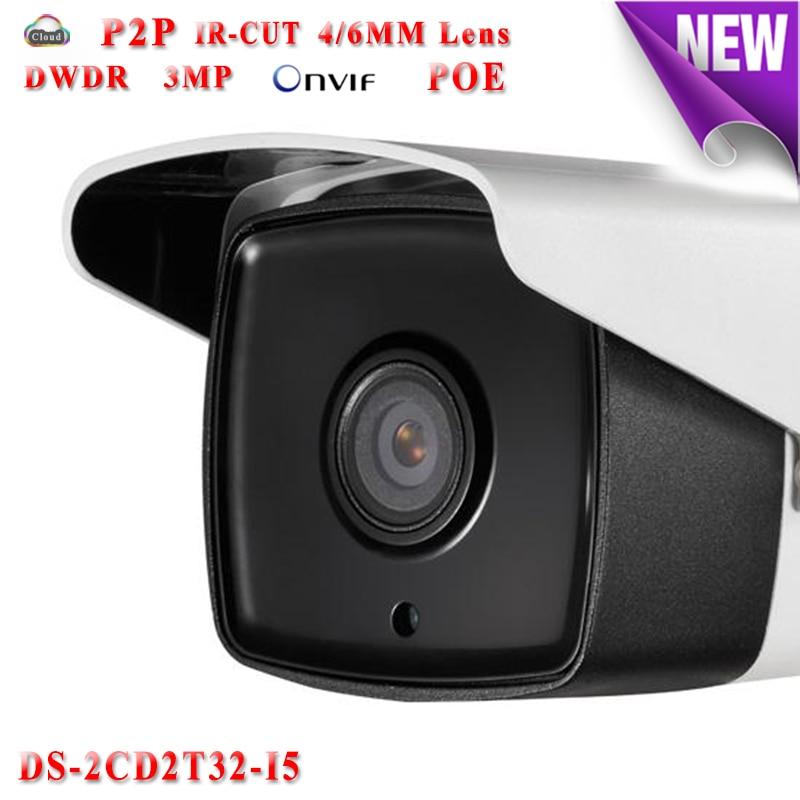 DS-2CD2T32-I5 CCTV camera security 3D DNR Network IP camera POE 3MP Bullet waterproof IP66 outdoor 50M IR night vision сетевой видеорегистратор d link dnr 326 2xsata 3 5