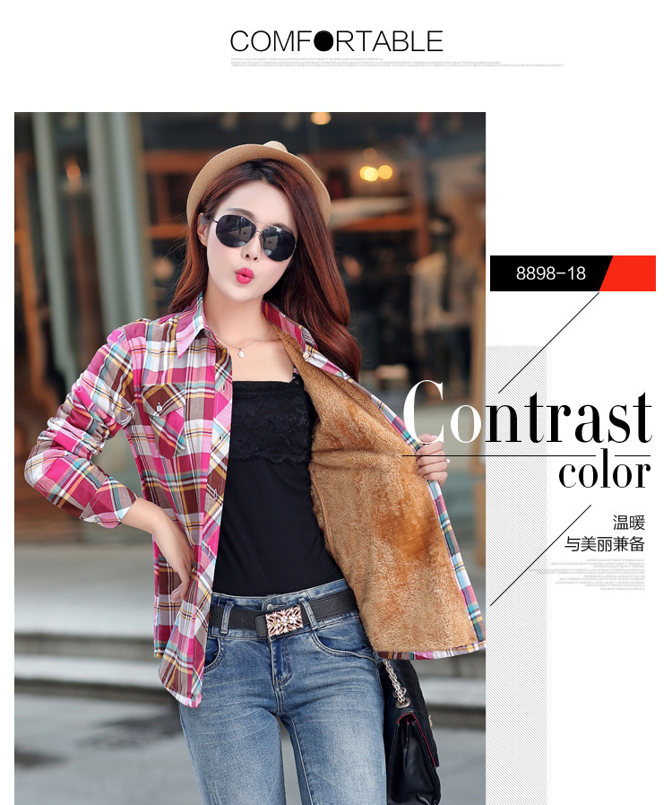 19 Brand New Winter Warm Women Velvet Thicker Jacket Plaid Shirt Style Coat Female College Style Casual Jacket Outerwear 36