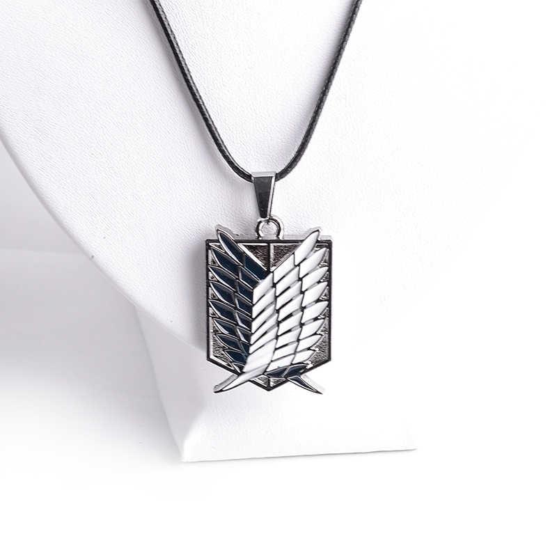Hot Phim Hoạt Hình Vòng Cổ Tấn Công Kim Loại Titan Mặt Dây Chuyền Vòng Cổ Wings Of Liberty Stationary Guard BIỂU TƯỢNG Chìa Khóa Vòng Cổ Rope Chain Jewelry